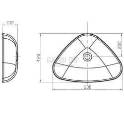 Триъгълна мивка iStone за плот 60 см, черна 2