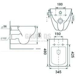 Конзолна тоалетна чиния 48х34,5х34 см, бяла 2
