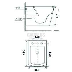 Конзолна тоалетна чиния 48х35х35 см, бяла 1