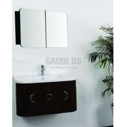 Комплект долен шкаф 79 см, мивка, огледален горен, PVC, черен gds_ICP 7935