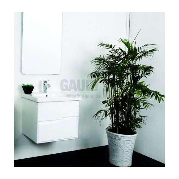 Комплект долен шкаф 58 см, мивка, огледален горен, PVC, бял gds_ICP 5845