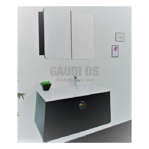 Комплект долен шкаф 75 см, мивка, огледален горен, PVC, кафяв gds_ICP 7545