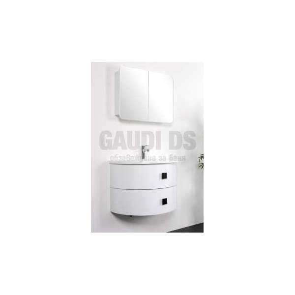 Комплект долен шкаф 79 см, мивка, огледален горен, PVC, бял gds_ICP 7939