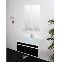 Комплект PVC шкаф 79 см, стъклена мивка, огледален горен, черен gds_ICP 7947