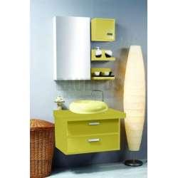 Комплект PVC шкаф 80 см с мивка, огледален горен, полици, жълт gds_ICP 8052
