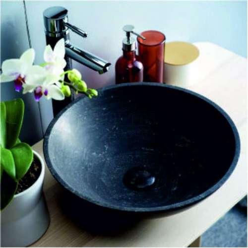 Мивка тип купа за плот D40х12 см от варовиков камък, черен