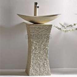 Овална мивка 55 см и конзола от варовик gds_ICL 4575