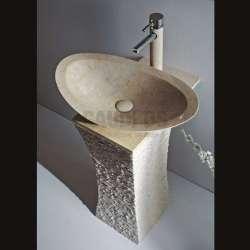 Овална мивка 55 см и конзола от варовик 2