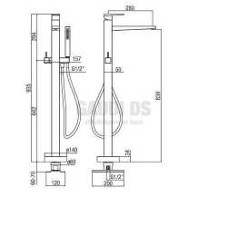 Alpi Una стоящ на пода смесител за вана/душ с подвижен душ, хром 2