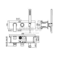 Alpi Una комплект - скрит смесител за душ с два изхода и подвижен душ 2