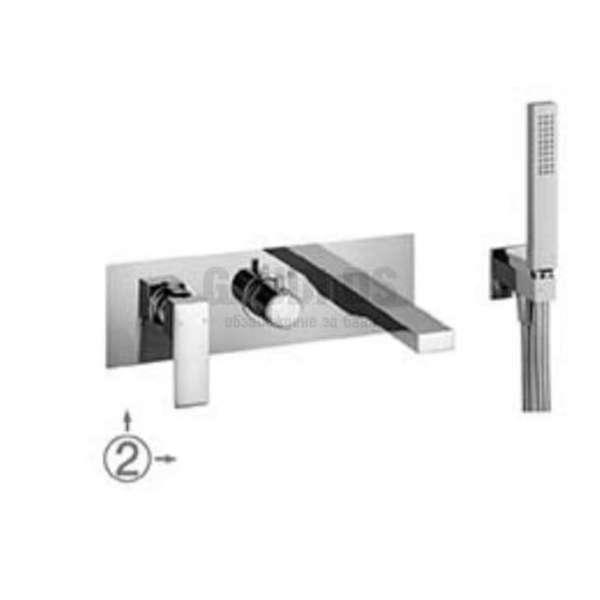 Alpi Una комплект - скрит смесител за вана/душ с два изхода и подвижен душ UN 18L863VD CR