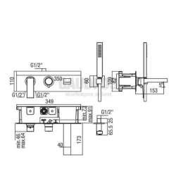 Alpi Una комплект - скрит смесител за вана/душ с два изхода и подвижен душ 2