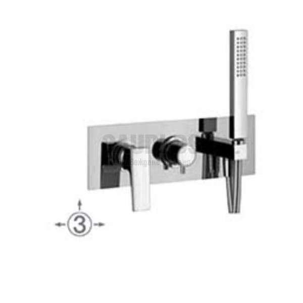 Alpi Una комплект - скрит смесител за душ с три изхода и подвижен душ UN 18L869 CR