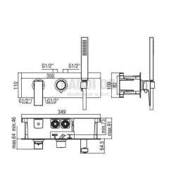 Alpi Una комплект - скрит смесител за душ с три изхода и подвижен душ 2