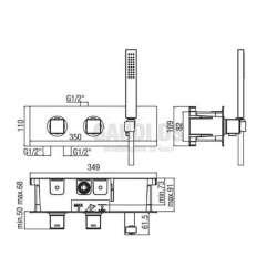 Alpi Una комплект - скрит термостатен смесител за душ и подвижен душ 2