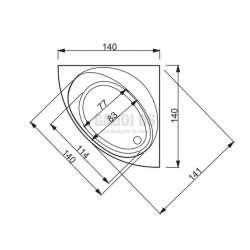 Ъглова Hafro Nova 140х140 с рамка, панели и автоматичен сифон 2