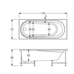 Хидромасажна Hafro Nova 170х70 с рамка, панели и автоматичен сифон - дясна 2