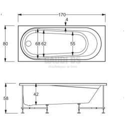 Хидромасажна Hafro Nova 170х80 с рамка, панели и автоматичен сифон - дясна 2