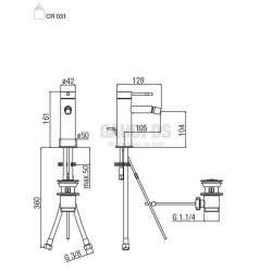 Alpi Blue смесител за биде с изпразнител, хром 2