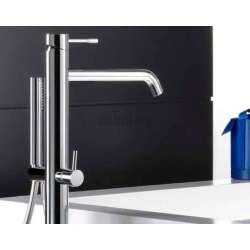 Alpi Blue смесител вана/душ за монтаж на пода с подвижен душ, хром 2
