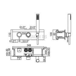 Alpi Blue вграден смесител за душ с три изхода и слушалка, хром 2