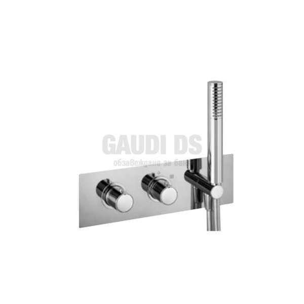 Alpi Blue вграден термостатен смесител душ с два изхода и слушалка, хром BU 85L163D CR
