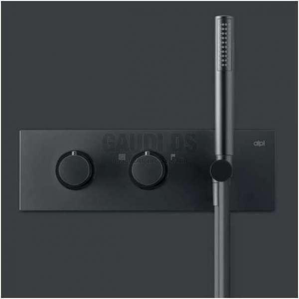 Alpi Blue вграден термостатен смесител душ с два изхода, слушалка, черен мат BU 85L163D NE