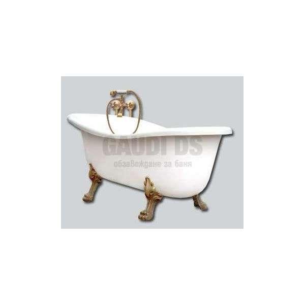 Besco Otiylia 170 свободностояща вана 170х77 см, лъвски лапи месинг Besco_WKO-170WO+M