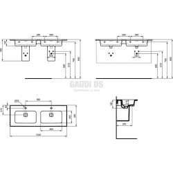Ideal Standard Strada II 124 см двойна мивка за вграждане 1