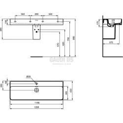 Ideal Standard Strada II 120 см мивка с един отвор за смесител 1
