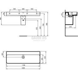 Ideal Standard Strada II 120 см мивка без отвор за смесител 1