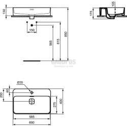 Ideal Standard Strada II 60 см мивка за монтаж върху плот 1