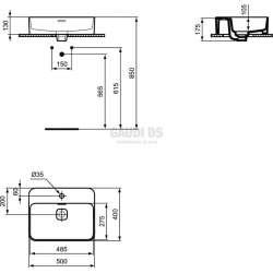 Ideal Standard Strada II 50 см мивка за монтаж върху плот 1