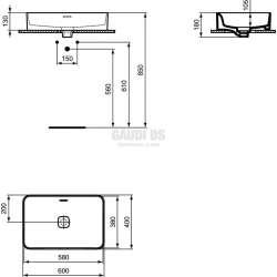 Ideal Standard Strada II 60 см за монтаж върху плот, без отвор за смесител 1