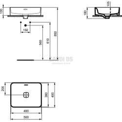 Ideal Standard Strada II 50 см за монтаж върху плот, без отвор за смесител 1
