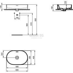 Ideal Standard Strada II 60 см, монтаж върху плот, овал, без отвор за смесител 1