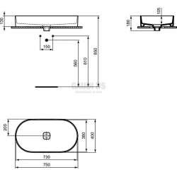 Ideal Standard Strada II 75 см, монтаж върху плот, овал, без отвор за смесител 1