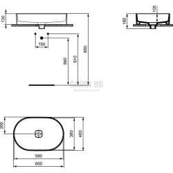 Ideal Standard Strada II 60 см, монтаж върху плот, овал, без преливник 1