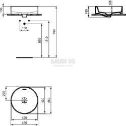 Ideal Standard Strada II 45 см, монтаж върху плот, кръгла 1