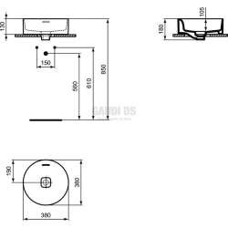 Ideal Standard Strada II 38 см, монтаж върху плот, кръгла 1