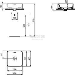 Ideal Standard Strada II 40 см, монтаж върху плот, квадрат 1