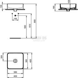 Ideal Standard Strada II 40 см, монтаж върху плот, без преливник, квадрат 1