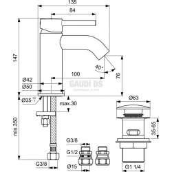 Ideal Standard Ceraline стоящ смесител за мивка с Click изпразнител 2