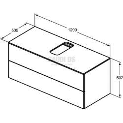 Долен конзолен шкаф 120см с 2 чекмеджета, тъмно кафяво дърво 2