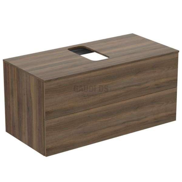 Ideal Standrd Adapto долен конзолен шкаф 105 см с 2 чекмеджета, тъмно кафяво дърво U8597FW