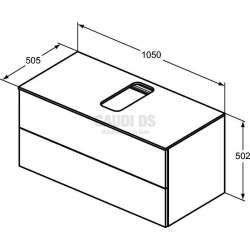 Долен конзолен шкаф 105 см с 2 чекмеджета, светло кафяво дърво 2