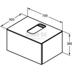 Долен конзолен шкаф 70 см с 1 чекмедже, бял гланц 2