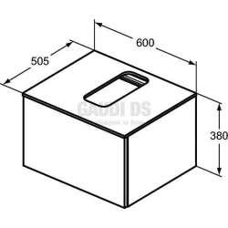 Долен конзолен шкаф 60 см с 1 чекмедже, тъмно кафяво дърво 2