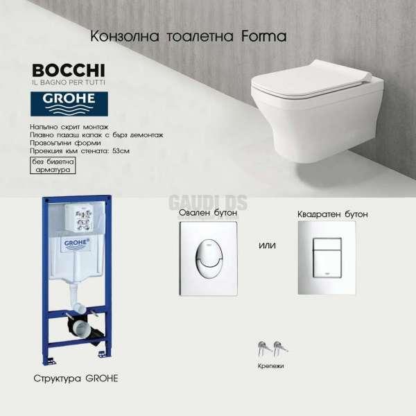Пакет структура Grohe с бутон и тоалетна Bocchi Forma, Slim капак grohe_bocchi_forma–slim