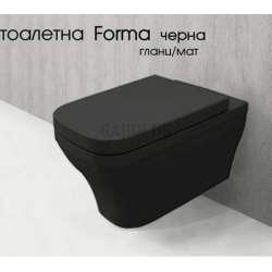Bocchi Forma конзолна WC със скрит монтаж, черна bocchi_tondo_black